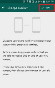 Change WhatsApp number in android