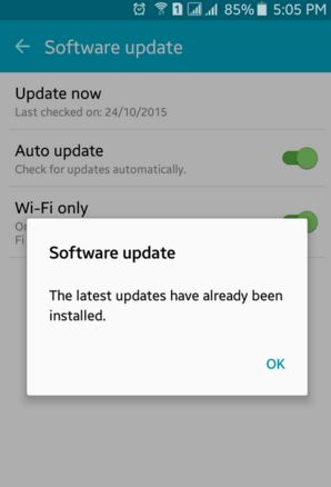 Software Update Not Available