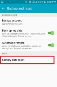 Tap on Factory Data Reset option