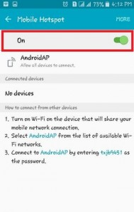 Turn On Mobile Hotspot on mobile