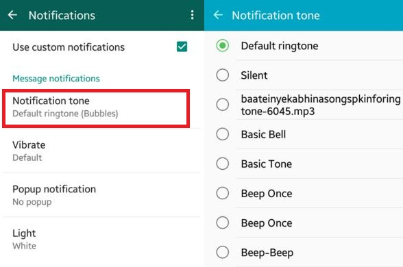 How to set custom notifications for WhatsApp contacts on Android