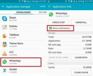 Tap WhatsApp to show notifiation