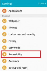 Tap on accessibility under personal section