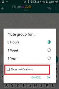 Disable WhatsApp group chat notification