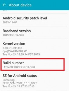 Enable developer option in android