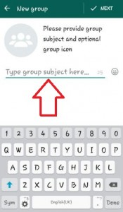 Enter WhatsApp group subject name