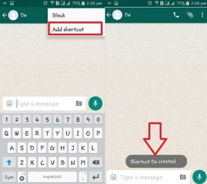 How to add shortcut of WhatsApp contact on android