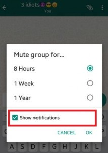 How to mute WhatsApp group on android lollipop