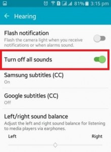 How to turn off all sounds on android lollipop