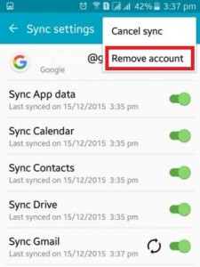 remove Google account from android lollipop