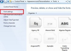 How to change font settings in windows 7
