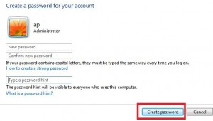 How to create a password for windows 7 user account
