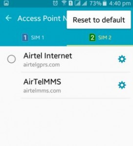 Reset default APN settings on android