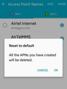 Reset default APN settings on android lollipop