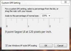 Set DPI scale settings on Windows 7