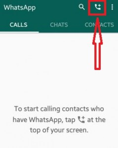 Tap on calls+ button in WhatsApp
