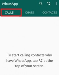 Tap on calls in WhatsApp android