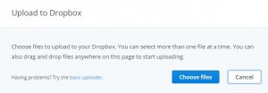 Tap on choose files to upload files on dropbox