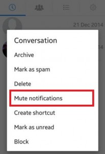 Tap on mute notifications in contact profile