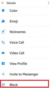 block contacts in facebook messenger app in android device