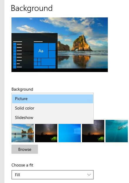 Change Desktop Background on Windows 10 desktop PC or Laptop
