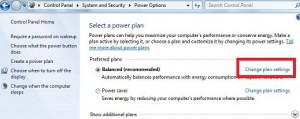 Change plan settings windows 7