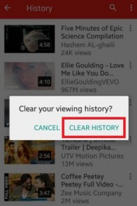 Clear viewing history of YouTube app on android