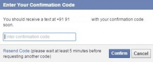 Enter confirmation code to add mobile number on facebook