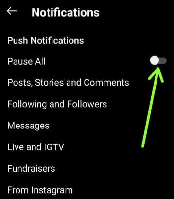 How To Turn Off Push Notifications For Instagram Android Device