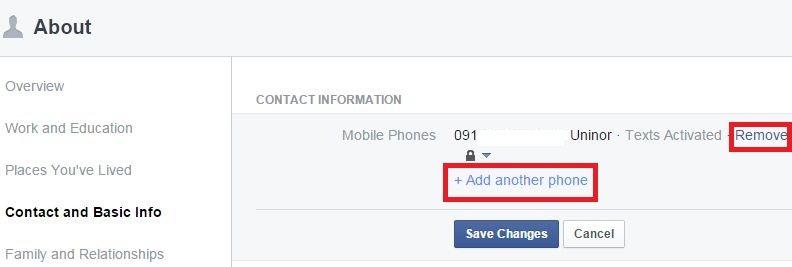 How to add remove phone number facebook profile page how to add or remove phone number facebook profile page ccuart Images
