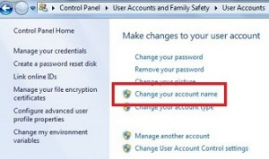How to change account name windows 7