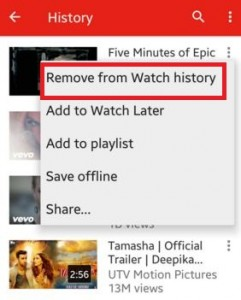 Remove Youtube search history individually android