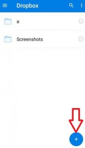 Tap on +icon from bottom right on dropbox app