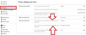 Tap on privacy settings of facebook profile