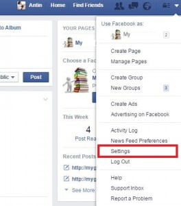 Tap on settings on facebook profile