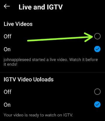 Turn off Live Video Notifications on Instagram Android Devices