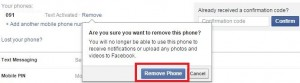 remove phone number from Facebook account