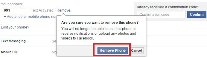 How to add remove phone number facebook profile page remove phone number from facebook account ccuart Image collections
