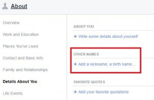 Add nickname or birth name on facebook