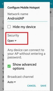 Change security settings on mobile hotspot