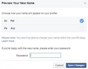 How to change facebook name PC