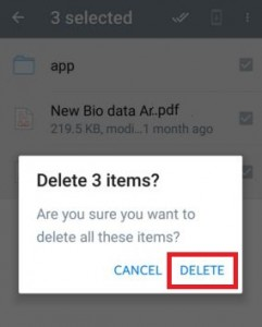 How to delete multiple files from dropbox on android