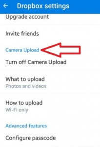 How to turn off camera upload on dropbox android lollipop
