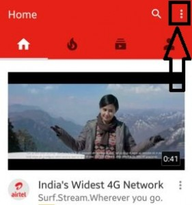 Tap on three vertical dots on YouTube app