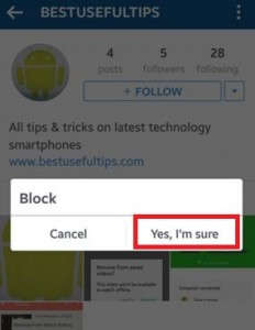 block someone on Instagram android mobile