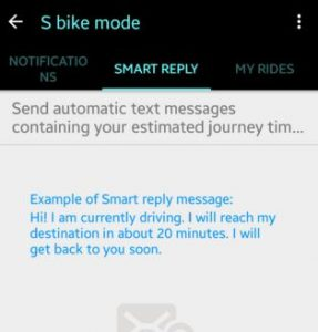 S bike mode message from caller