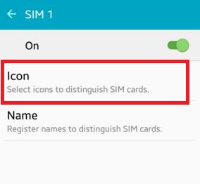 Tap on Icon to change SIM card symbol