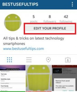 Tap on edit your profile to modify instagram profile