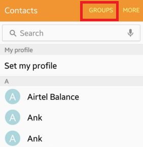 Tap on groups in contacts