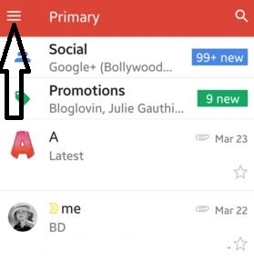Tap on three horizontal line in Gmail app